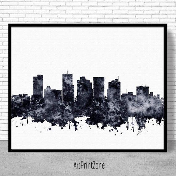 Phoenix Print, Phoenix Skyline, Phoenix Arizona, City Wall Art Office Posters, City Skyline Prints, Skyline Art, Cityscape Art, ArtPrintZone #ArtPrint #PhoenixPrint #PhoenixSkyline #PhoenixArizona #OfficeDecoration