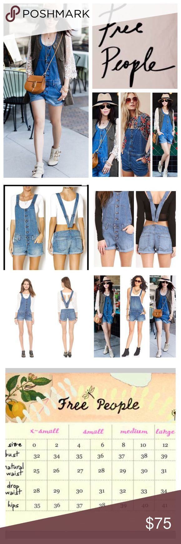 """🆕Free People Button Front Shortalls.  NWOT. 🆕 Free People Button Front Shortalls, 71% cotton, 28% polyester, 1% spandex, machine washable, 37"""" waist, 9"""" front rise, 14"""" back rise, 2.5"""" inseam, 29"""" length from strap maximum to hem, 25"""" leg opening all around, scoop neck, open back, adjustable overalls belt-looped waist, 5-pocket silhouette, cuffed, button front closure, black line on Free People label to prevent return to store, measurements are approx. New without tag, never worn.  NO…"""