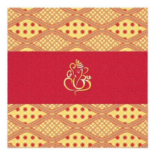 Indian Wedding Red And Yellow Reception Invite