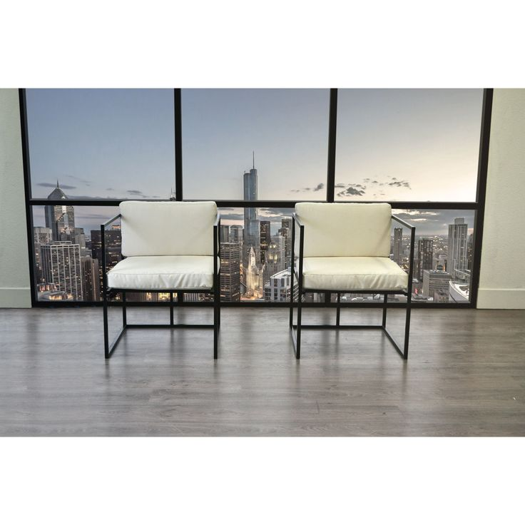 Solis Scena 2-Piece Deep Seat Accent Chair Set With Frame and Cream Cushion for Indoor or Outdoor