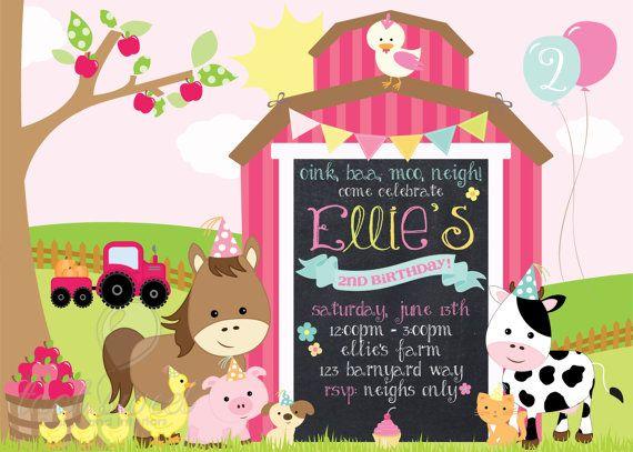 Para imprimir Girly granja invitación del cumpleaños  granja