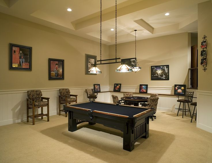 A Contemporary Man Cave With Stained Glass Pendant Lighting, A Poker Table  And Black Felt Pool Table Paired With Upholstered Bar Stools.
