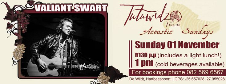 VALIANT SWART @ Tutu Acoustic Sunday 1 November 2015   Valiant Swart is much, much more than just another singer/songwriter, rocker or folkie. He is a poet who offers his poetry in musical form. Although he has written and sung English and Afrikaans, it is in Afrikaans that he is at his most expressive. He pushed the boundaries and took Afrikaans...  http://tutuwedzo.co.za/2015/10/02/valiant-swart-tutu-acoustic-sunday-1-november-2015/