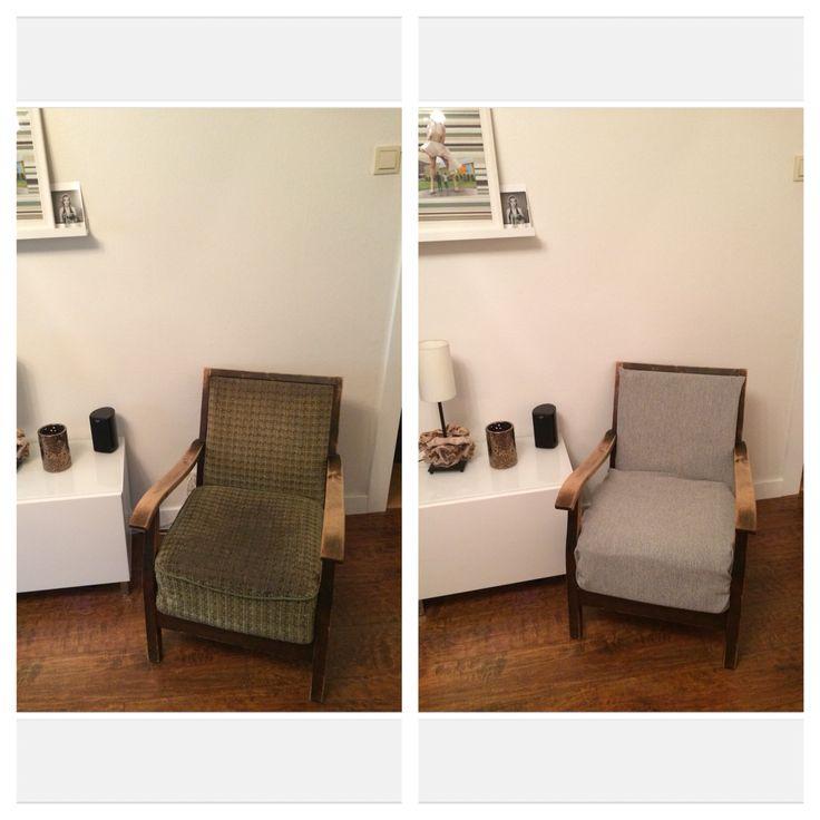 Nytt stoff til morfars gamle ungkarsstol. Møbelstoff fra S&S. *agagabri
