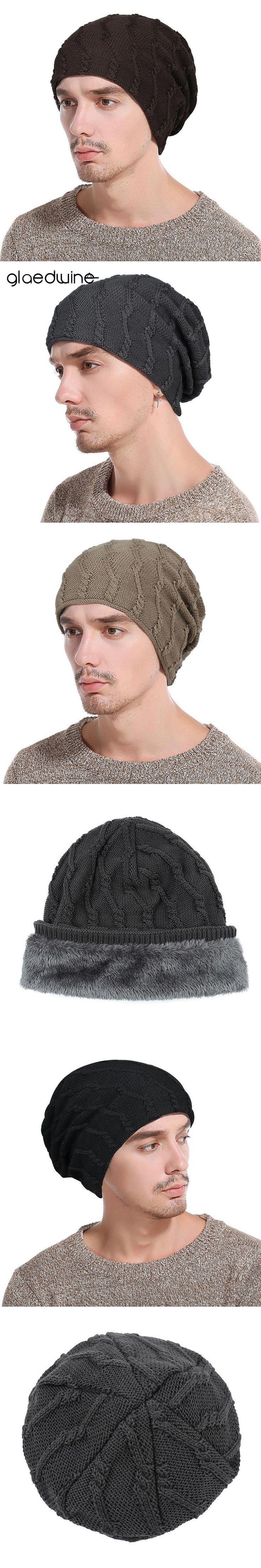 Glaedwine Fashion Men's Bonnet Hat Beanies Warm Winter Hats Knitting Skullies Caps For Men balaclava Brand Keep warm ears Cap