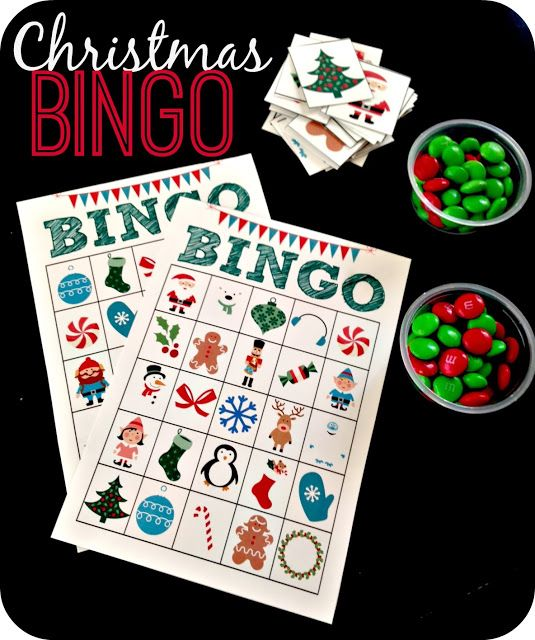 Printable Christmas Bingo!  Super fun idea for the kids.  She even shares the bingo cards!  #Christmas #activityforkids
