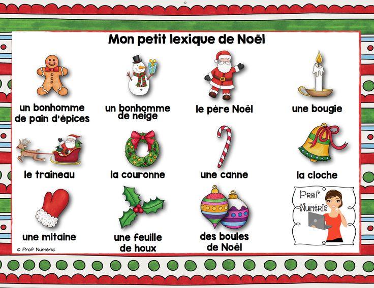 24 mots de vocabulaire sur le thème de Noël + 2 lexiques. Ces affiches riches en couleur seront parfaites pour décorer vos classes pendant le temps des Fêtes !$