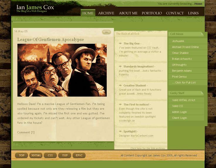 Ian James Cox website in 2005