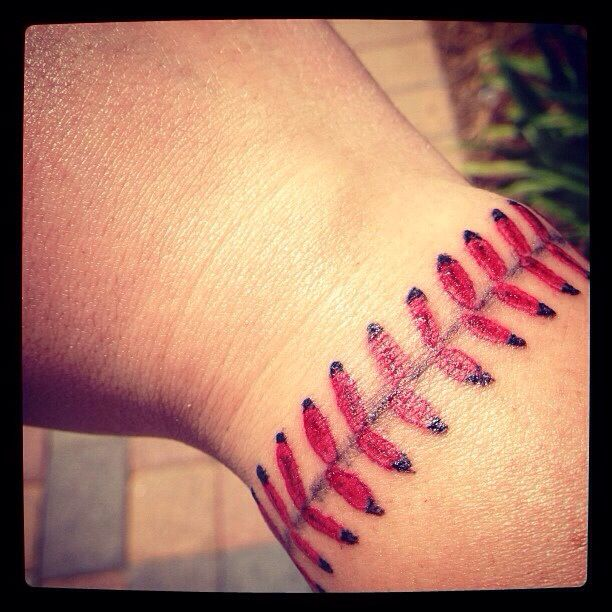 Tattoo of baseball stitches love of the game pinterest for Baseball stitch tattoo