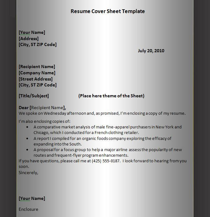 Ms De  Ideas Increbles Sobre Cover Sheet For Resume En