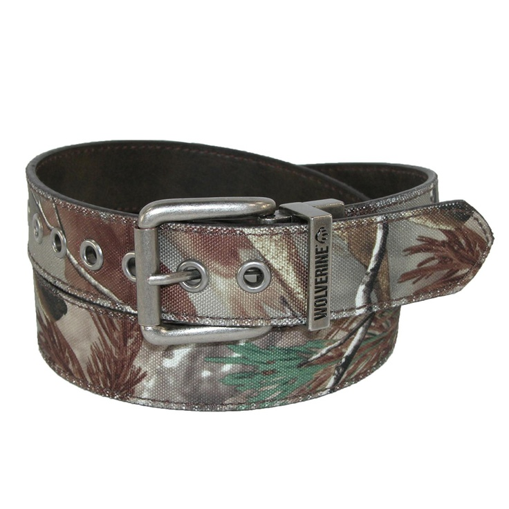 7 prong holes are grommet reinforced for a tough and durable belt that adjusts more than traditional 5 prong hole belts. One side of this belt is Mossy Oak camouflage pattern and the other is a distressed light black / dark brown solid color with stitched edges. The buckle features a roller for easy on and off that you simply pull up and twist to reverse. The antiqued nickel keeper features the Wolverine logo known for their quality outdoor products. $19.95