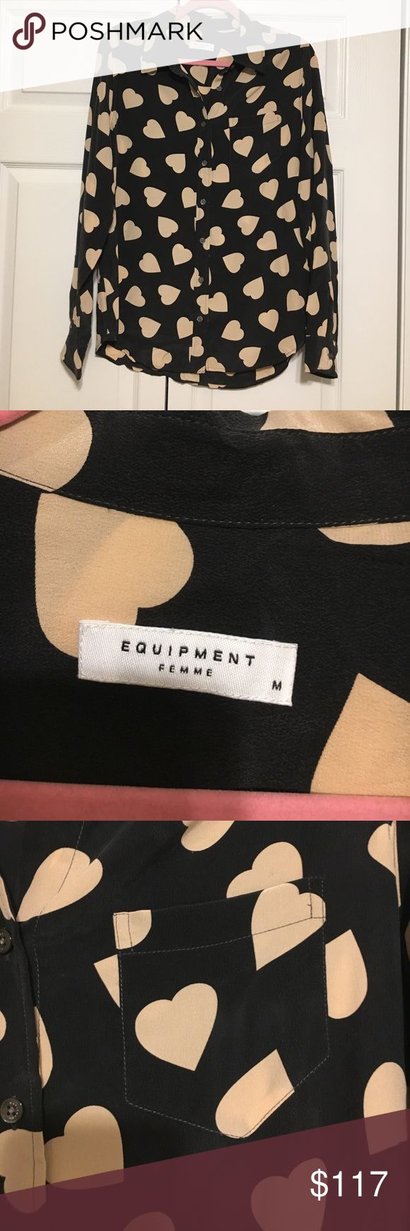 NWT Equipment Women's Silk Blouse Shirt Sz Medium 🔥New with tags! Equipment silk button-down blouse. Size Medium. Dark grey with light pink heart print. 100% silk. Comes with extra button. Perfect alone for fall or under a sweater in the winter. Such a versatile top - dress up with leather pants/skirt or casual with leggings. Don't miss this one! Equipment Tops Blouses