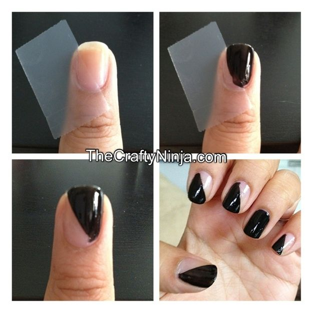 DIY: Scotch tape nail template-pinned by http://www.auntbucky.com #nails #fashion #DIY I'm gonna do this, but with two different colors. :)