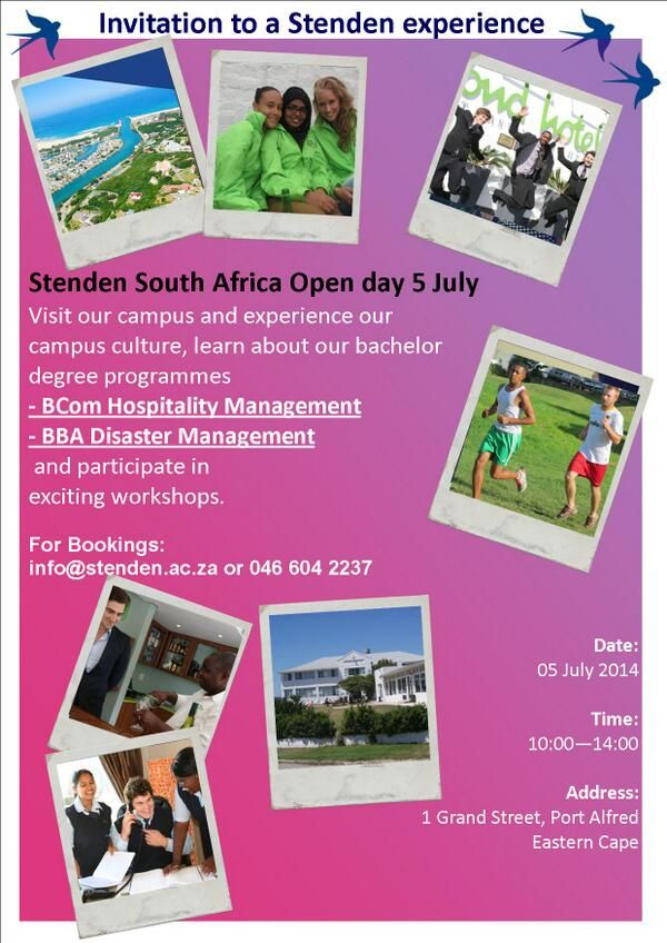 Visit us on our Open Day on 5 July 2014! For more information, please visit info@stenden.ac.za. Image supplied by Stenden South Africa
