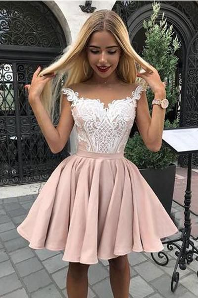 4d864057f7f Chic A Line Off the Shoulder White Lace Appliques Homecoming Dresses Short  Prom Hoco Dress LD1407