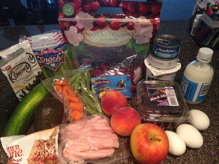 Tips for packing flight attendant lunch box (3day). I have Boiled eggs and miso soup for breakfast. Lunch is tuna or chicken salad scooped with cucumbers, carrots or celery. Dinner is sliced turkey and mashed cauliflower ( not pictured). And I brought apples, peaches, cherries, figs, FiberOne bar, and seaweed as snacks. I also have milk for my tea.