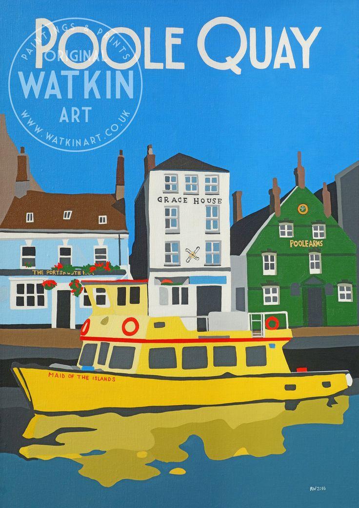 Poole Quay Dorset original painting and prints by Richard Watkin Watkin Art