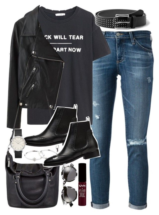 """""""Outfit with a leather jacket for spring"""" by ferned ❤ liked on Polyvore featuring AG Adriano Goldschmied, MANGO, Acne Studios, Status Anxiety, Balenciaga, Zimmermann and Illesteva"""
