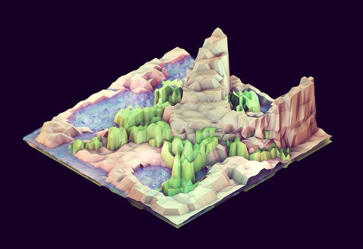 It is easy to imagine fantasy as physical and myth as real. We do it almost every moment  Low-poly, isometric worlds by Tim Reynolds  Title: Evan Harris Walker - but does it float