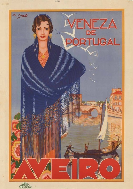 Aveiro, Portugal Vintage Travel Poster