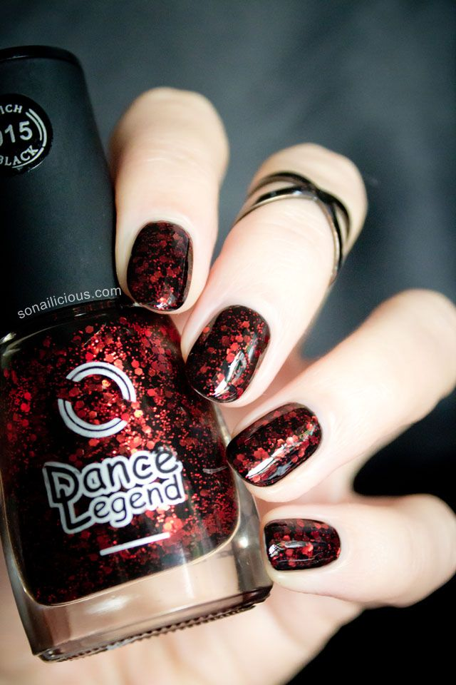 Black Nail with red glitter - DL Burgundian Sky: http://sonailicious.com/dance-legend-rich-black-915-burgundian-sky/