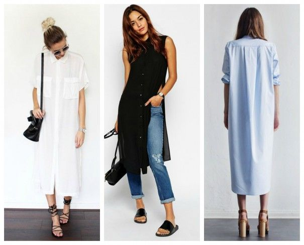 Maxi shirts - super long shirt tails are huge this season! Layer them over trousers or wear alone as a dress!