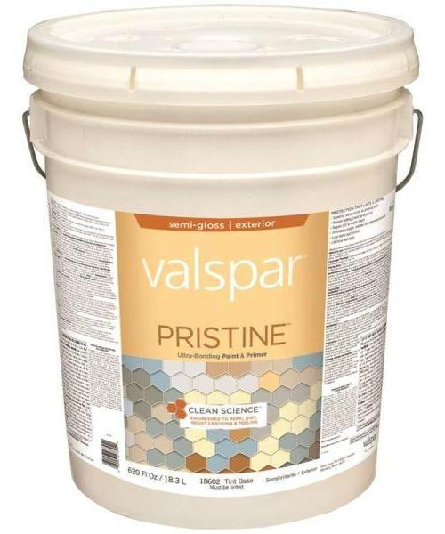 Valspar 18602 Pristine Exterior Paint & Primer, Tint Base, Semi-Gloss, 5 Gallon