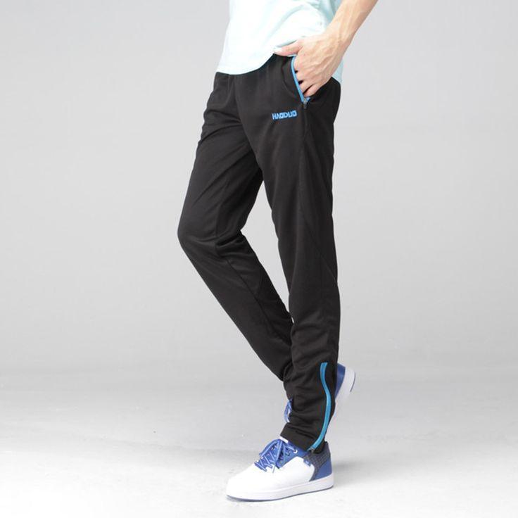 Sporting New Brand Mens Running Training Pants Polyester Sports Football Slim Pants Men Jogging Zipper Leg Trousers Blue 3 Color