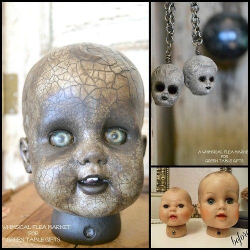 DIY Halloween Doll Heads Tutorial   #halloween #diy #spooky  TIP: When using crackle medium read the instructions or go online to get the size cracks you want. Also seal it or patches will flake off