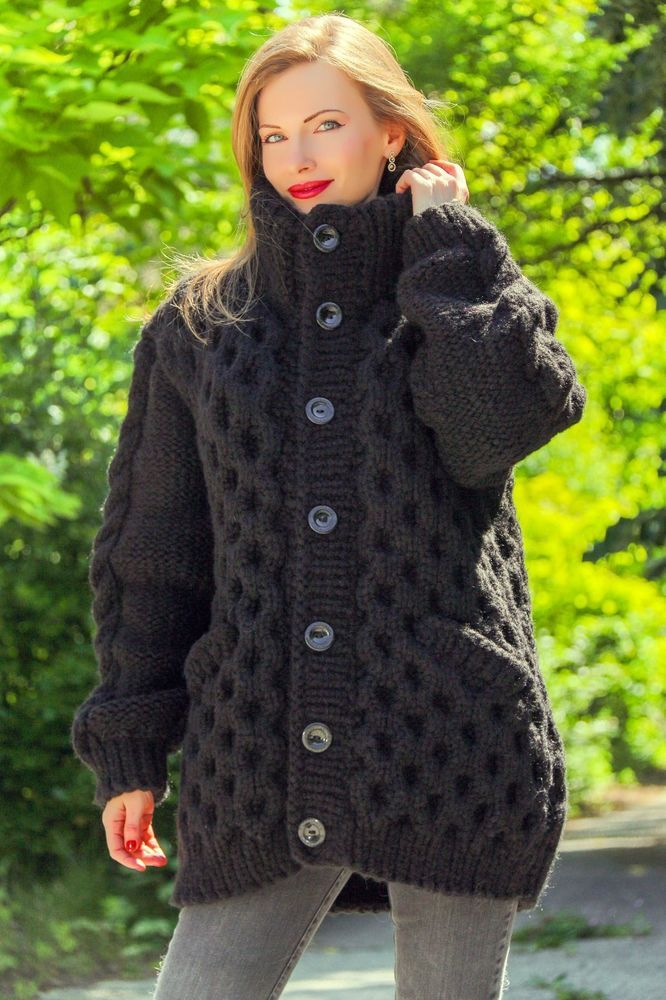 b8c8698605851 NEW black wool jacket thick mohair sweater cardigan honeycomb pattern coat  3 KG  SuperTanya  Cardigan