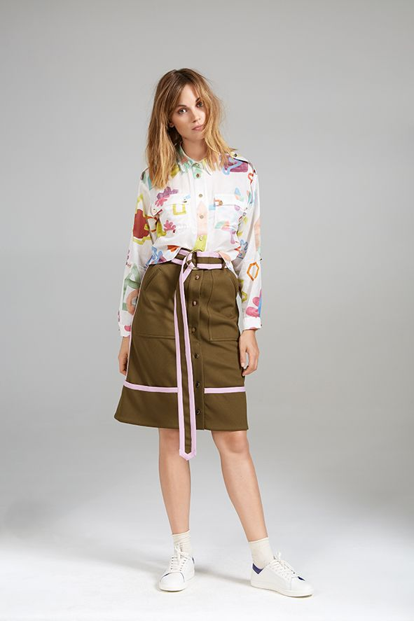 POCKET SHIRT AND CONTRAST SKIRT