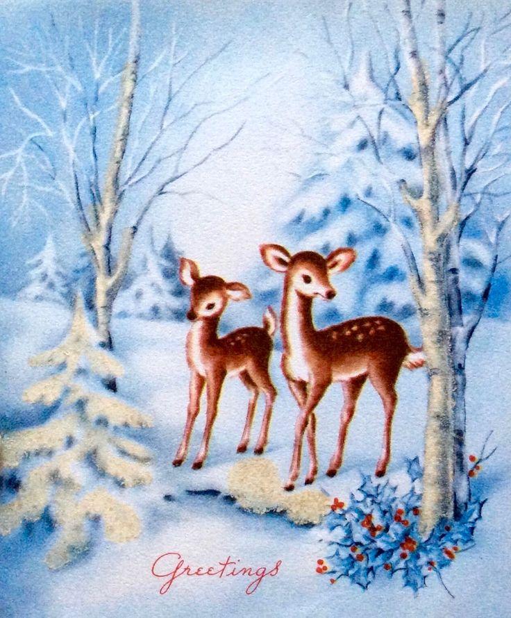 414 best Old Fashioned Christmas: Cards - Reindeer & Deer images ...