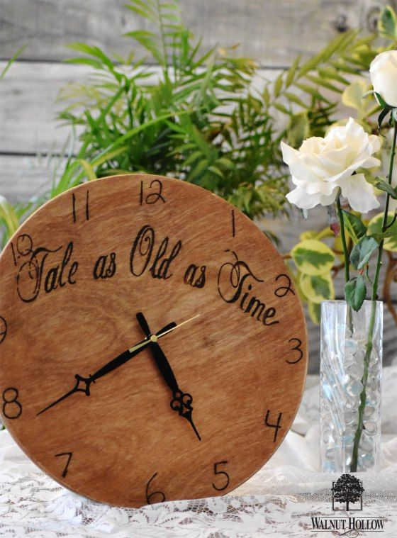 """Simple """"Tale as Old as Time"""" Wedding Clock Guest Book by Walnut Hollow"""
