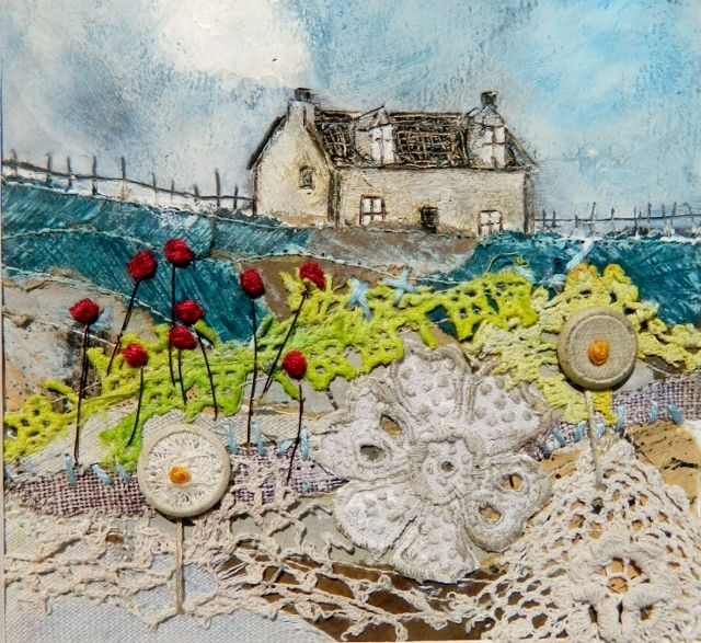 'A memory of Rose Cottage'  by Louise O'Hara of DrawntoStitch.com