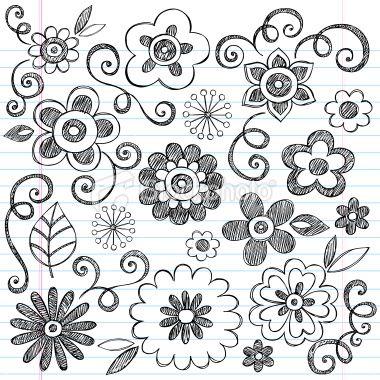 Flowers Back to School Sketchy Doodle Design Elements