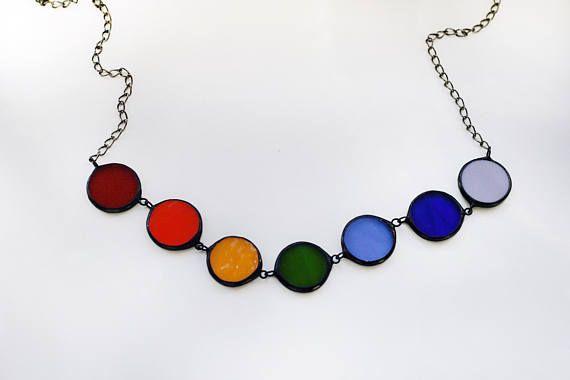 Arco iris collar collar de Chakra 7 joyería colorida Aura