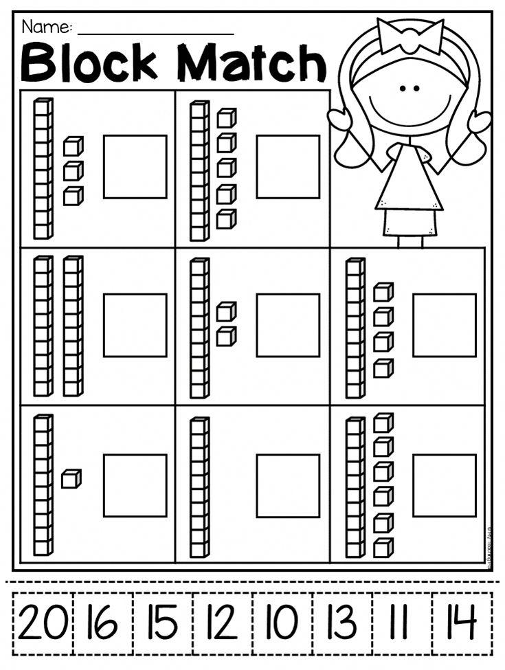 Worksheets Match The Blocks Place Value Worksheets Kindergarten Worksheets Tens And Ones Worksheets Place value worksheets for kindergarten
