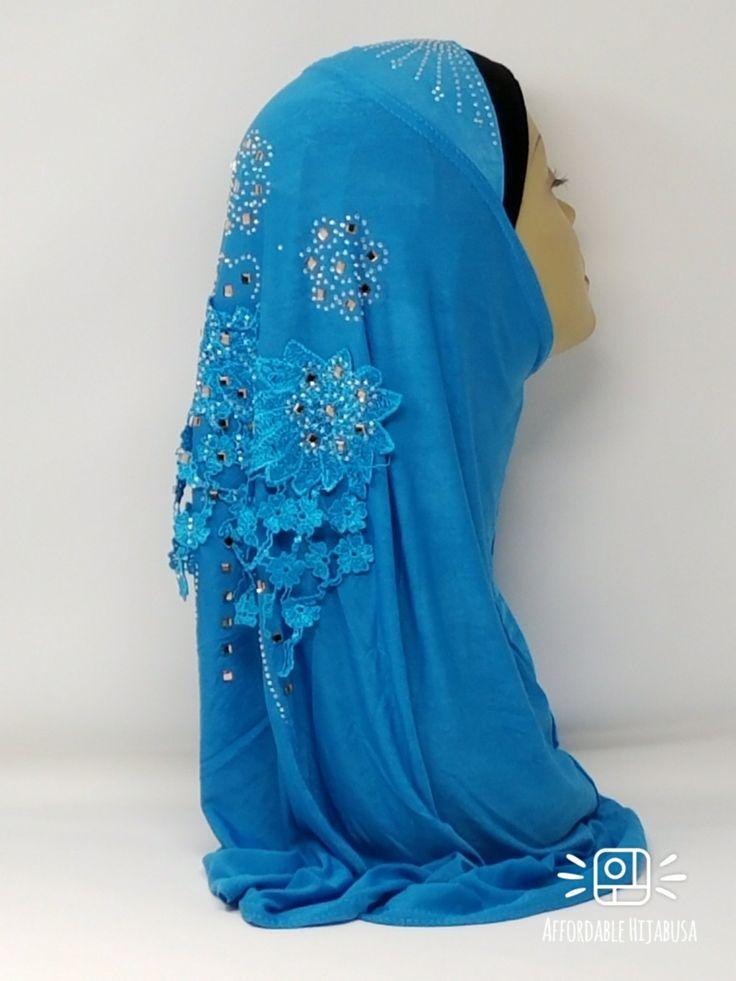 Amour Al Amira Hijab $24.99 Amour Al Amira Hijab with beautiful Lace Applique And Rhinestone Turquoise 1pchttps://store13211292.ecwid.com/#!/Amour-Al-Amira-Hijab/p/101700130