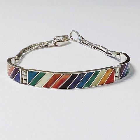 bracelet de pierres fines en argent massif, artisanat péruvien