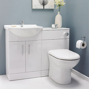 550mm High Gloss White Vanity Unit Cloakroom Suite