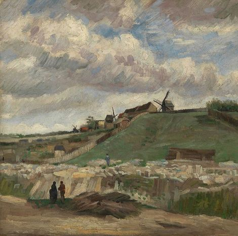 Vincent van Gogh, A cloudy Van Gogh sky at the hill of Montmartre with Stone Quarry (1886) on ArtStack #vincent-van-gogh #art