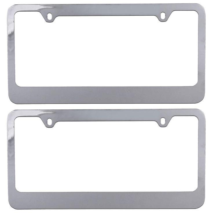 InstaTrim Polished Chrome Metal License Plate Frames Pair (2pcs) - Classic for Car Auto Truck SUV