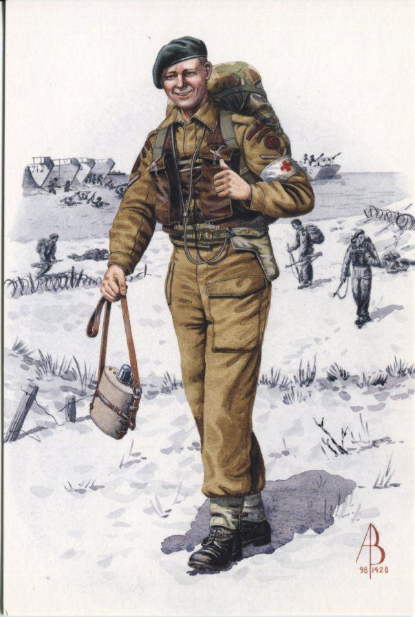 Alix Baker Postcard - AB28/4 Medical Orderly, Royal Army Medical Corps attached to A Troop, 45 Royal Marine Commando, 1944