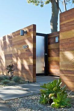 front curb appeal: fencing, lights, hardware, door