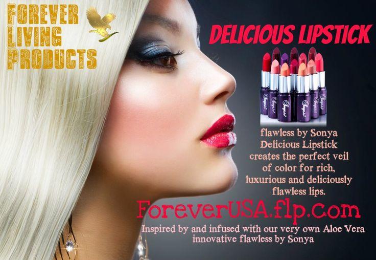 Delicious Lipstick // De exclusieve, nieuwe en innovatieve Delicious Lipstick is voorzien van onze eigen aloë vera en levert een perfecte serie kleuren op voor volle, weelderige en onberispelijk verzorgde lippen. Verkrijgbaar in twaalf nieuwe kleuren, van transparant tot gewaagd. Met de heerlijke geur van vanille zijn uw lippen onweerstaanbaar.