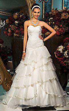 tromba / sirena Sweetheart abito da sposa in tulle