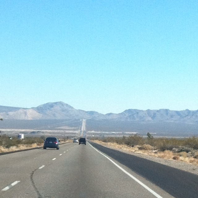 The LONG road to Vegas. Don't forget to turn off your AC when you start to climb, otherwise, your car will overheat!