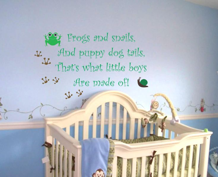 Baby Boy Saying Quote Wall Decal Frogs And Snails Nursery Vinyl Sticker Decor. $30.00, via Etsy.