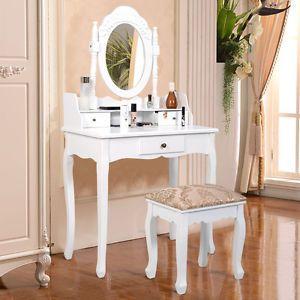 Vanity Table Jewelry Makeup Desk Bench Dresser w/ Stool 3 Drawer White