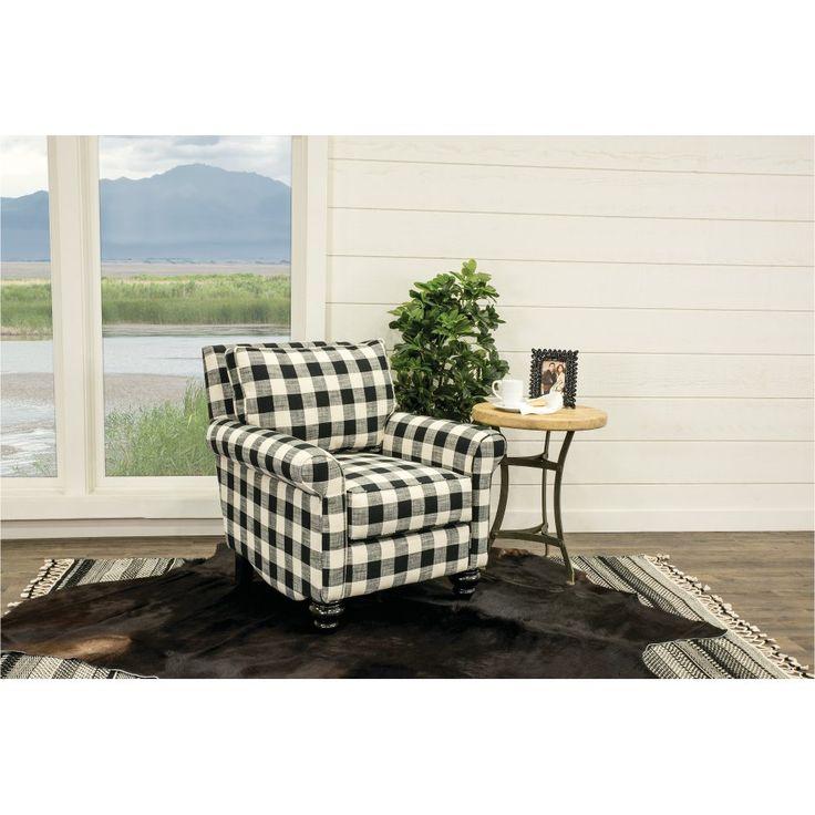 Black and white buffalo plaid accent chair blake